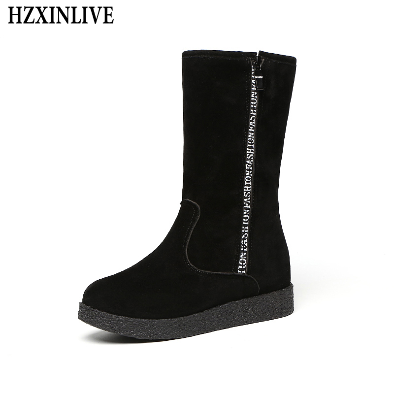 HZXINLIVE 2018 Winter New Design Women Mid-calf Boots Non-slip Warm Snow Boots Fashion Zip Increase Plush black Within Shoes sweet women s mid calf boots with buckles and zip design