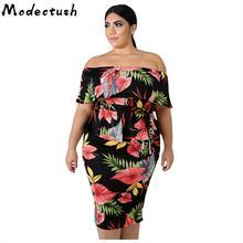 Modecrush Big Size Women Off Shoulder Slash Neck Split Dress Bohemia Summer Floral Flower Midi Dresses Plus 2019 Colorful