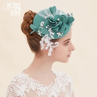 New Arrival Vintage Suede Lace Flowers Rhinestone Pearl Decorated Cotton Linen Grenadine Bridal Hat/Photo Props/Green Hat 1052