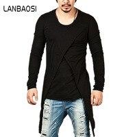 LANBAOSI Streetwear מותג חדשות אופנתי שרוול ארוך גברים גברים חולצה קו ארוך היפ הופ חולצות טי לזכר מזויף שתי חתיכות בגדים