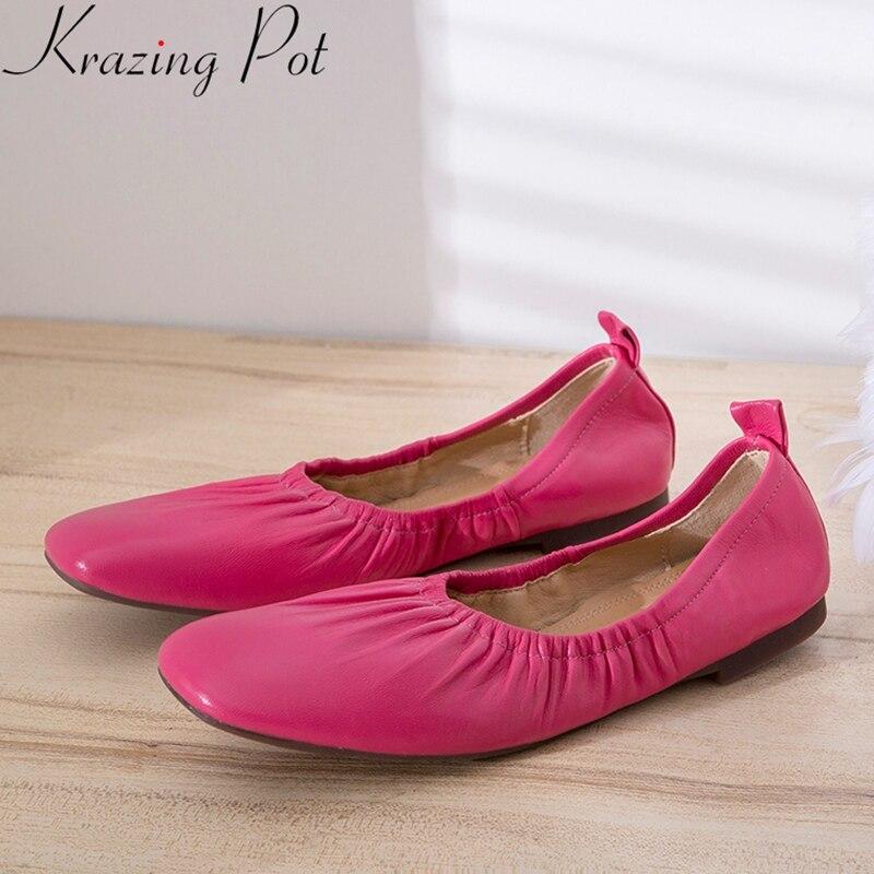 Krazing Pot 2019 fashion luxury sheep leather sweet square toe slip on ballet flats elegant pretty solid grandma glove shoes L30