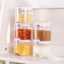 Fesyen kotak dapur telus stackable dimeteraikan double lid perasa kotak perasa periuk 7 * 7.5cm