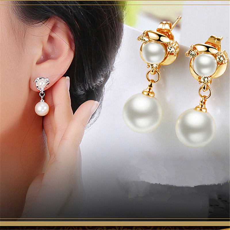 c849c727c Pearl earrings 925 Sterling Silver elegant long fashion no pierced anti  allergic stud earring female Jewelry accessories-in Stud Earrings from  Jewelry ...