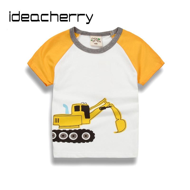 ideacherry Brand New Summer Children Short Sleeves T-Shirt Baby Boys Cotton O-Neck Half Sleeve Cartton Car Child Sweatshirt