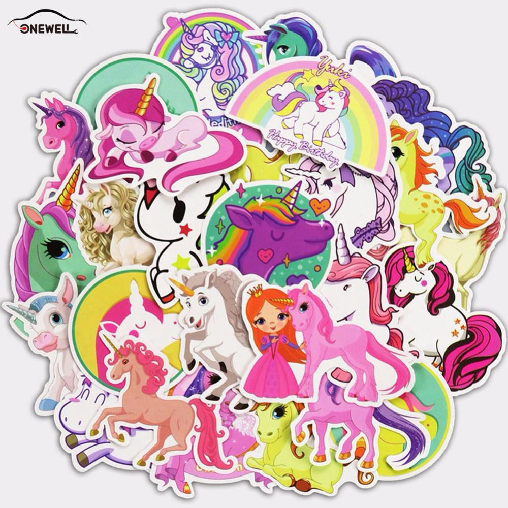 ONEWELL 30/28/18Pcs 3Style Car Sticker Unicorn Do Not Repeat Personality Automobile Motorcycle Trolley Cartoon Graffiti Stickers