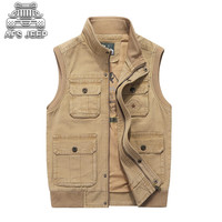 Men Denim Vests Many Pockets Big Casual Tactical Classic Autumn Winter Plus Size M 8XL Loose Male 100% Cotton Natural AFS JEEP