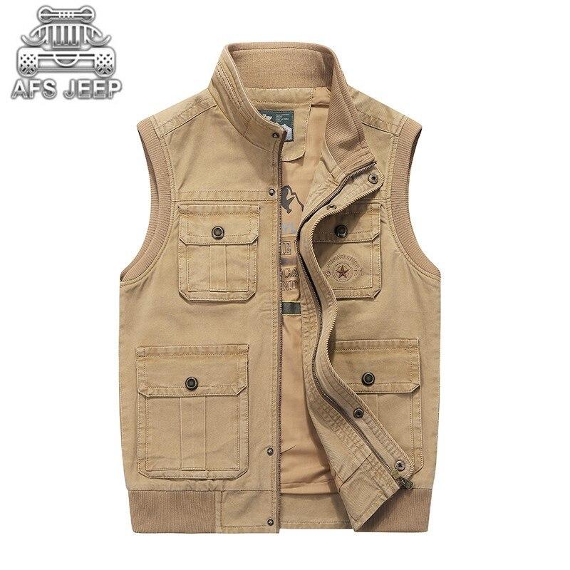 Hommes Denim gilets beaucoup de poches grand décontracté tactique classique automne hiver grande taille M-8XL lâche mâle 100% coton naturel AFS JEEP