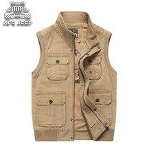 купить Men Denim Vests Many Pockets Big Casual Tactical Classic Autumn Winter Plus Size M-8XL Loose Male 100% Cotton Natural AFS JEEP дешево