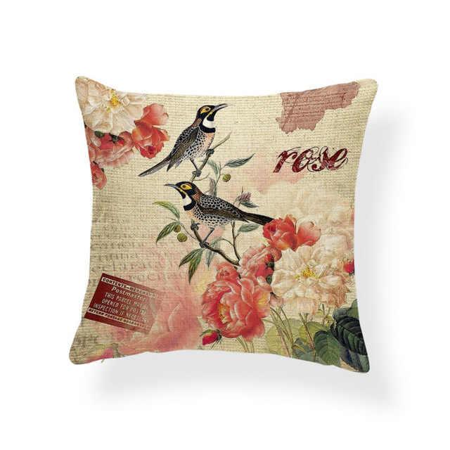Hummingbird подушка для животных цветы подушка с бабочкой чехол Китайский традиционный милый Декор для комнаты домашняя подушка с крышкой 17X17 Лен