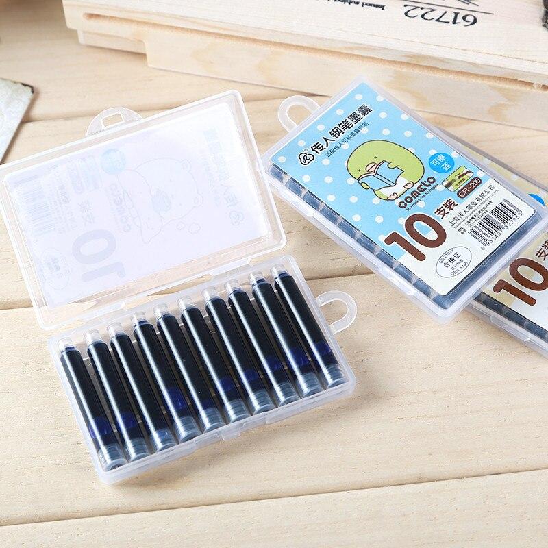 10 Pcs Metal Design Foununtain Pen Successor Interchangeable Capsule 200 Wholesale Creative Stationery Ink Blue Ink Bag Pen Gift