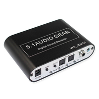 TOP 5.1 Audio Decoder Digital AC3 Optical to Stereo Surround Analog HD 2 SPDIF Ports HD Audio Rush for HD Players/DVD/XB