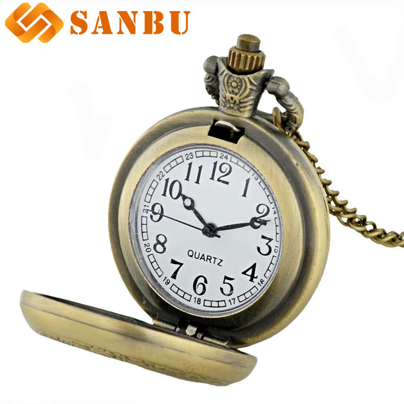 Купить с кэшбэком New Arrivals Soviet Union national emblem Pocket Watch Vintage Men Women Bronze Quartz Necklace watches