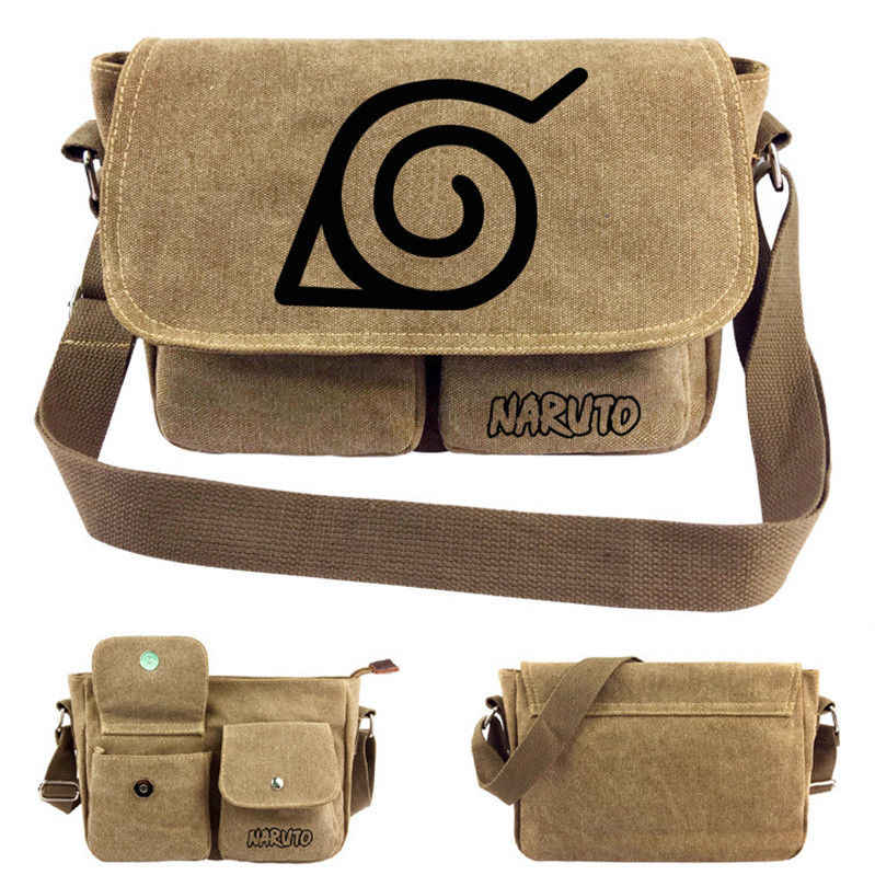 29e3c4b3c583 Аниме Наруто сумка-мессенджер Мужская парусиновая сумка через плечо Косплей  сумки через плечо Студенческая сумка
