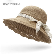 все цены на 2019 Summer Women Floppy Straw Sun Hat With Lace Bow Big Wide Brim Lace Up Caps Beach UV Protection Hats онлайн