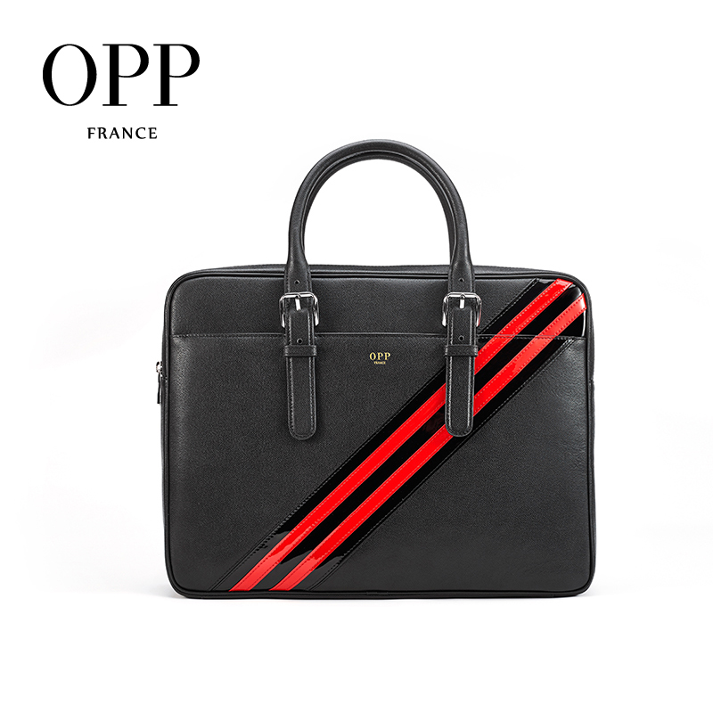 OPP 2020 Men's Bag Fashion Zipper Leather Business Briefcase Leather Wild Casual Handbag