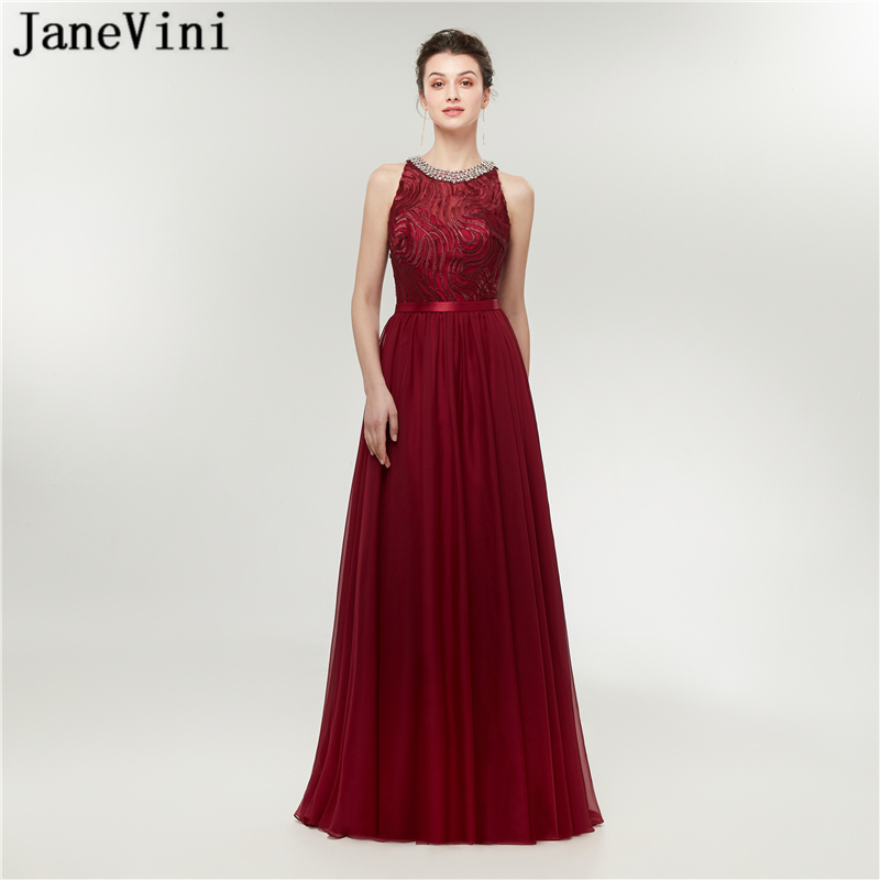 JaneVini Elegant Chiffon Burgundy   Prom     Dresses   Long Beaded Party   Dress   2019 A Line Woman Formal Gowns Blue White Black Champagne