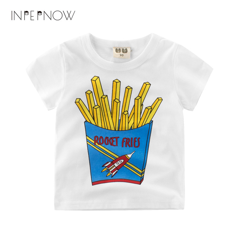 INPEPNOW Children Dabbing Cartoon Design French Fries Tops Boys and Girls Game Casual T Shirt Kids T-Shirt Top Tees DX-CZX63