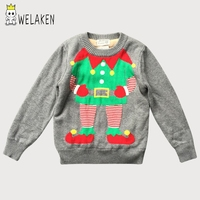 Welaken 2017 New Hot Boys Sweaters Cartoon Christmas Pattern O Neck Kids Velvet Clothing Autumn Full