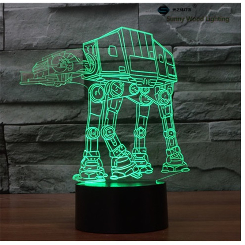 ATAT star wars touch LED 3D lamp,Visual Illusion 7color changing 5V USB for laptop,Christmas cartoon toy lamp