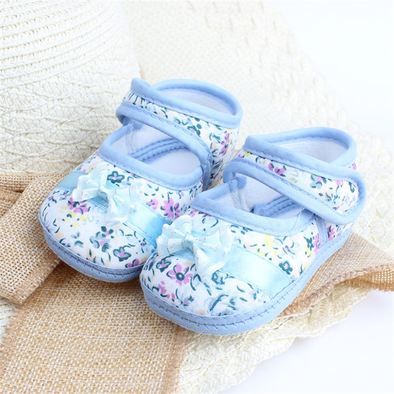 Spædbarn Shies Baby Kids Bowknot Blomsttrykt Prewalker Cotton Fabric Sko