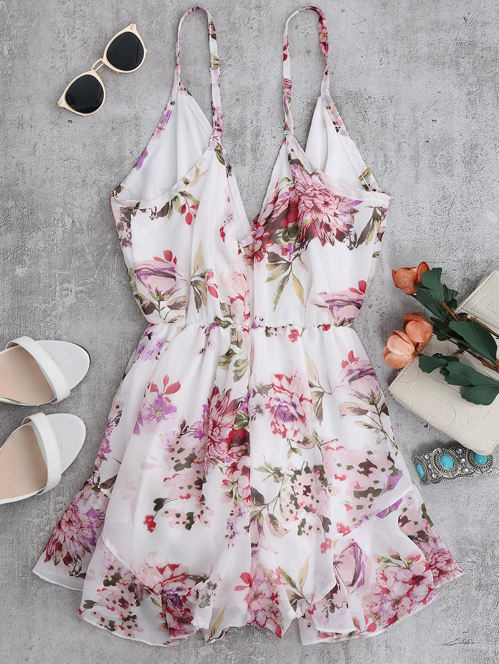 AZULINA 2018 Summer Holiday Floral Print Women Romper Jumpsuit Sexy Flower Chiffon Cami Strap Beach Romper Playsuit Overalls 9