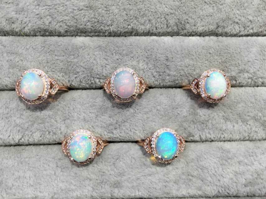 Bague en opale transparente naturelle bague en pierres précieuses naturelles S925 en argent sterling à la mode de luxe Triangle femmes cadeau bijoux