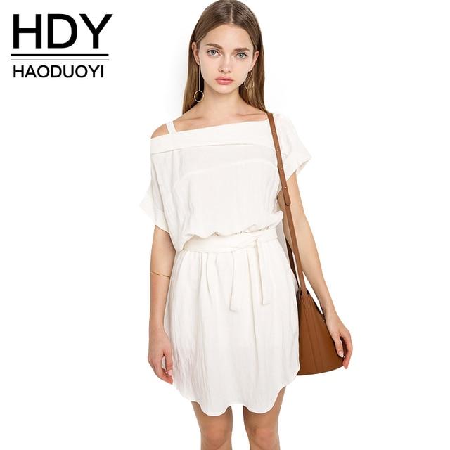 c95039f86c3 HDY Haoduoyi Solid Short Sleeve Pleated Dress White Asymmetrical Slash Neck  Mini Dress Sexy Drawstring Off Shoulder Sash Vestido