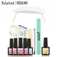 ROSALIND 4PCS 10ML UV Gel +Top Base Coat +SUNmini Soak-off Gel Nail Polish Nail Gel Kit Nail Art Tools Sets Kits Manicure Set
