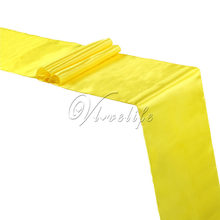 "Free shipping Yellow Satin Table Runner 12"" x 108"" Wedding Party Banquet Home Table Decor Supplies 30x275cm(China)"