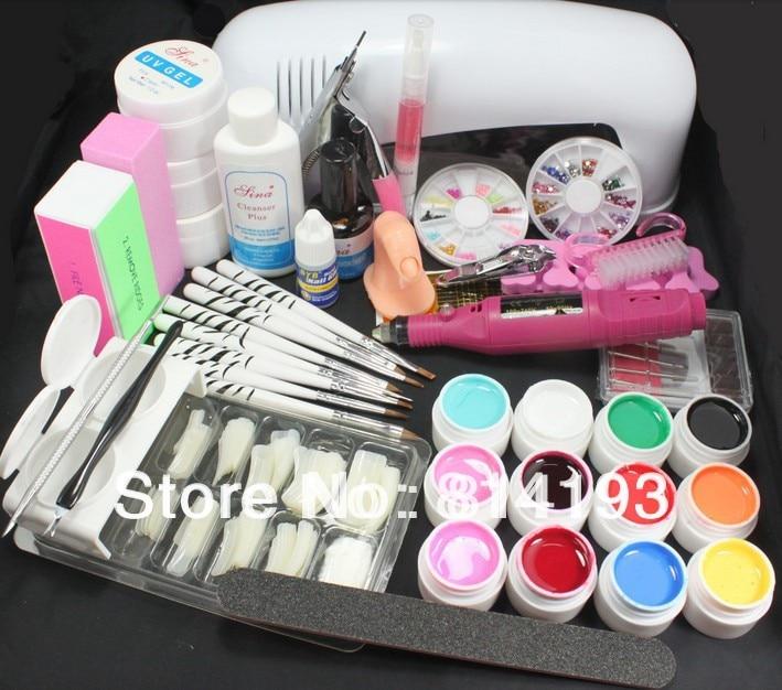 2018 Pro FULL Nail Art 9W UV Gel White Lamp machine 12 Color Pure Acrylic Brush Nail Art Tips Kits Tool & Electric File