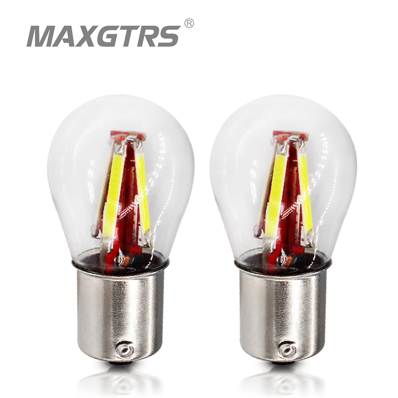 2x S25 1156 BA15S BAU15S BA15D Car <font><b>LED</b></font> <font><b>P21W</b></font> P21/5W <font><b>Cob</b></font> Reverse Replacement Bulb Turn Signal Tail Lamp Light Warm White Red image