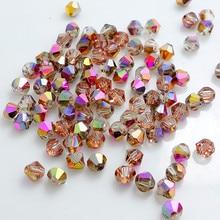 Хрустальное стекло 5301#, бусины-разделители 3 мм, 4 мм, 6 мм, половинная Роза, медь