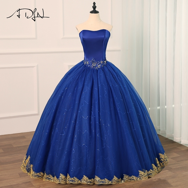69c752f89 ADLN Royal Blue Quinceanera Dresses Vestido Debutante Gowns Ball Gown  Flowers Beading Sweet 16 Dress Vestidos De 15 Anos