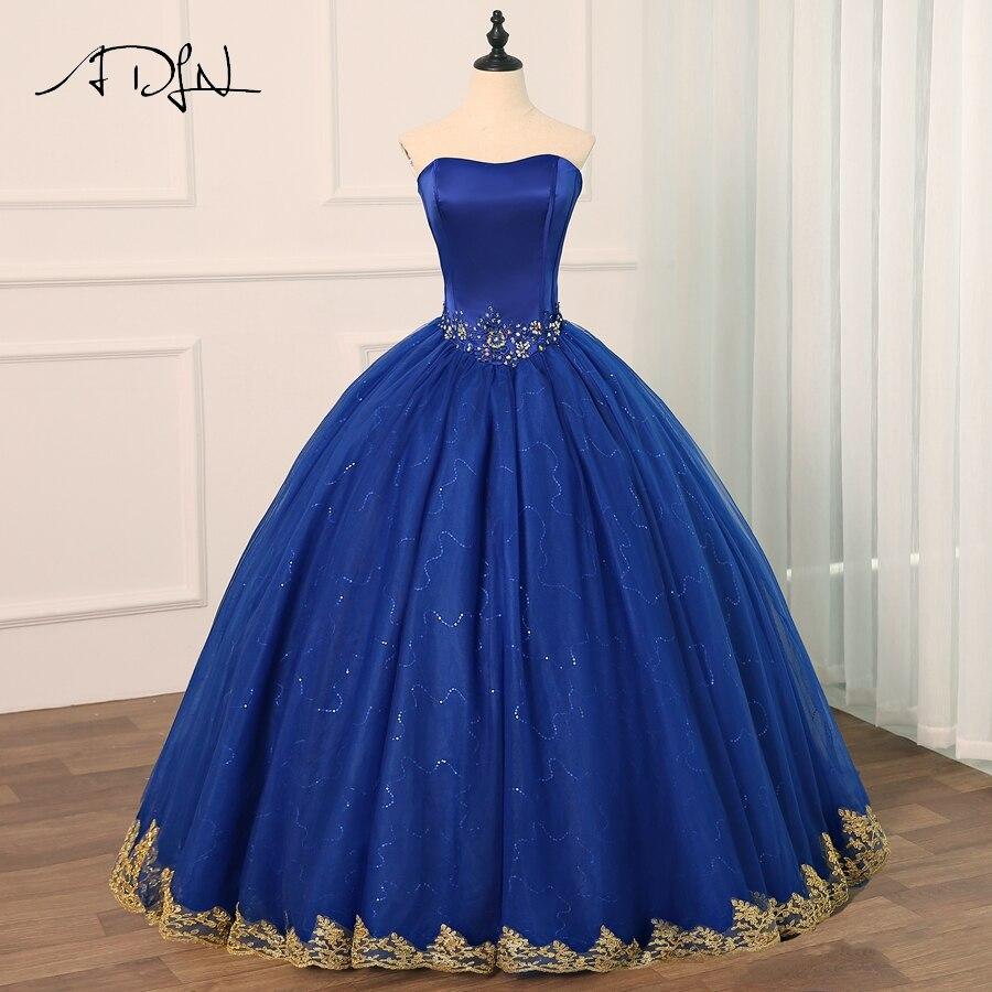 ADLN Royal Blue Quinceanera Dresses Vestido Debutante Gowns Ball Gown Flowers Beading Sweet 16 Dress Vestidos De 15 Anos