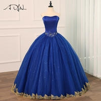 ADLN Royal Blue Quinceanera Dresses Vestido Debutante Gowns Ball Gown Flowers Beading Sweet 16 Dress Vestidos De 15 Anos