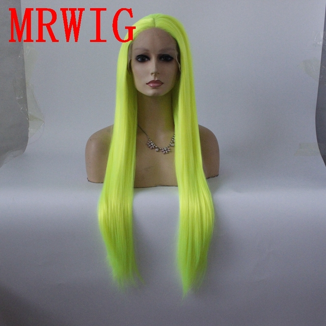 MRWIG silver green long straight synthetic glueless front lace wig middle part 26in real picturehair heat reasitant fiber stock