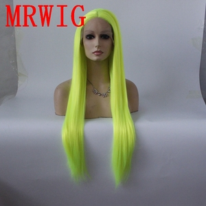 Image 1 - Mrwig prata verde longo reta sintético glueless peruca dianteira do laço parte média 26in real picturehair calor reasitant fibra estoque