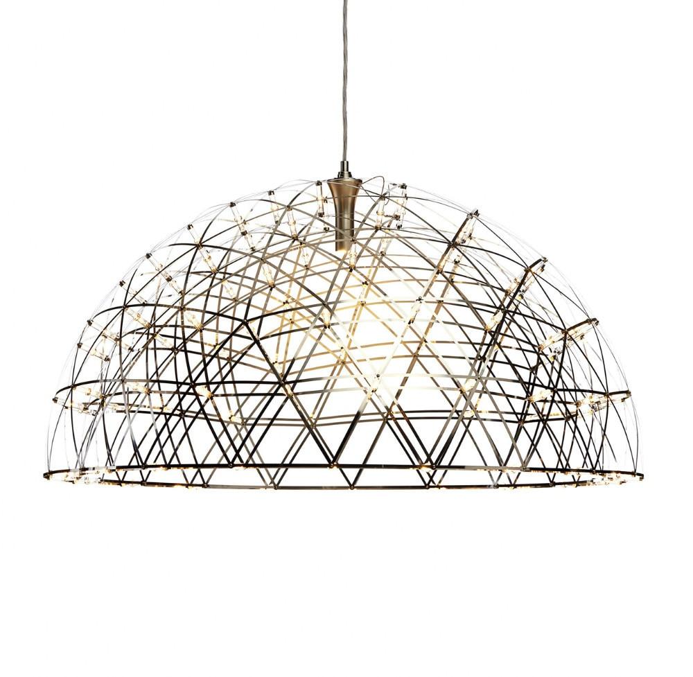 Moderní LED závěsná světla Ohňostroj Závěsná lampa Dome Nerezová ocel Obývací pokoj Loftové obchody Lampa 110-240V D60cm