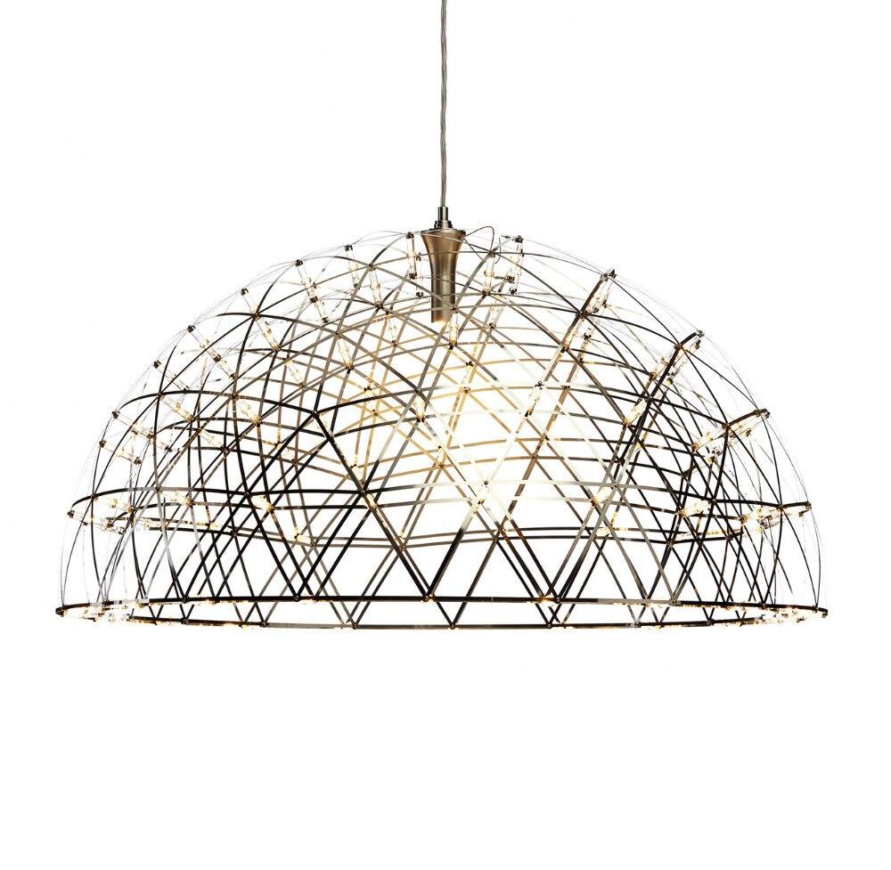 Moderne pendentif LED lumières feux d'artifice pendentif lampe dôme en acier inoxydable Restaurant salon Loft magasins lampe 110-240 V D60cm