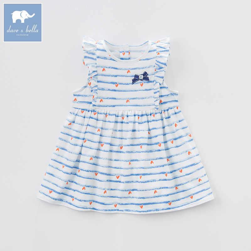DBM7344 dave bella summer infant baby girl's princess striped dress children birthday party wedding dress kids lolital clothes