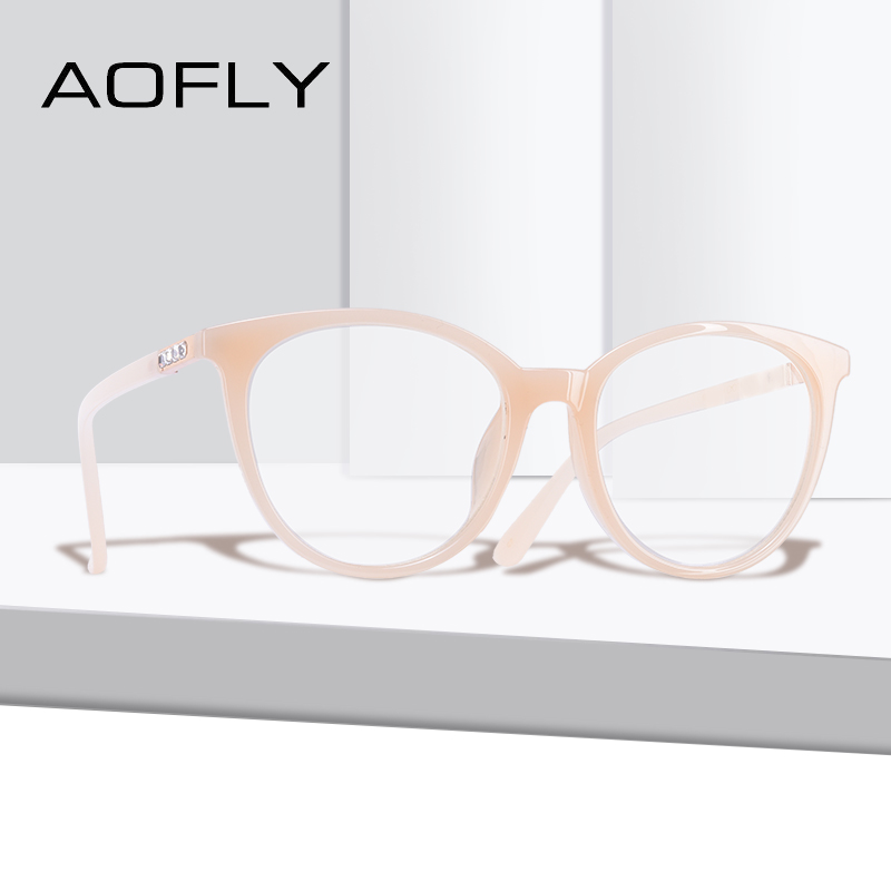 5ac6566d20b AOFLY BRAND DESIGN Cat Eye Eyeglasses Frame Reading Spectacles Women Plain  Glasses Frame Optical Oval Clear