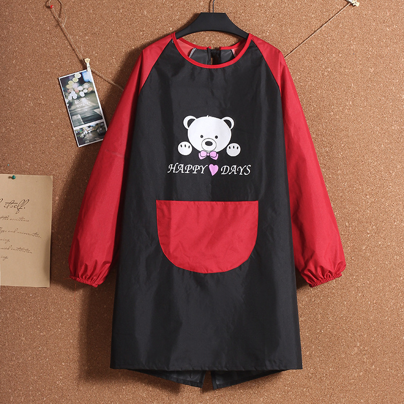 1Pcs Whole Body Long Sleeve Gown PVC Apron Waterproof Lovely Printed Kitchen Cooking Home Outdoor Barbecue Accessorie Kitchen