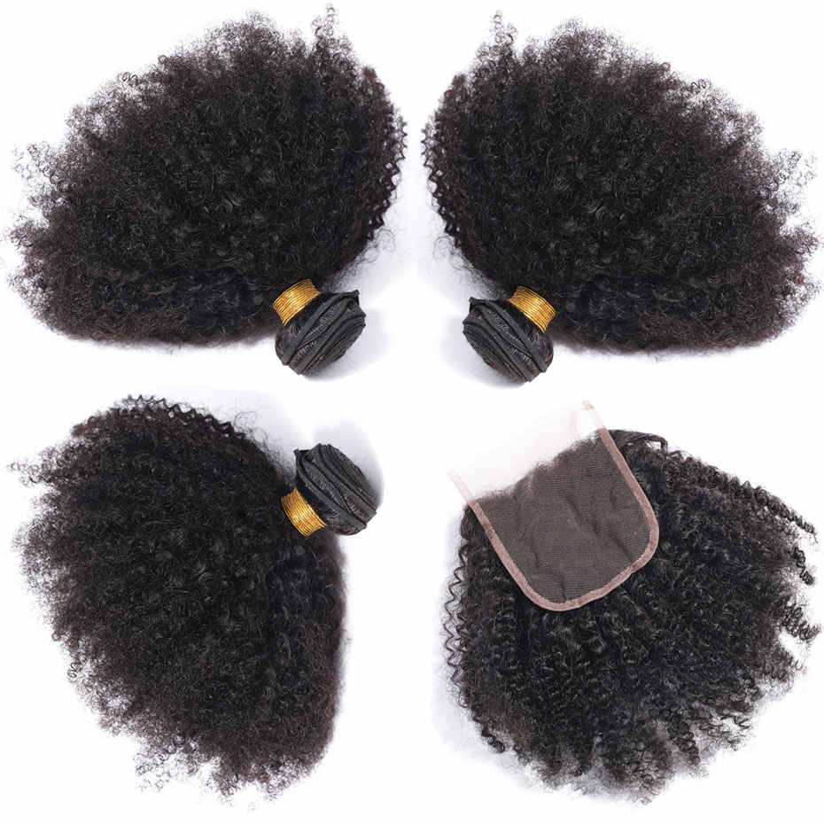 Clover Leaf Brazilian Afro Kinky Curly Hair 3 Bundles With lace Closure Remy Human Hair Bundles With 4*4 Lace Closure 8-28 inch
