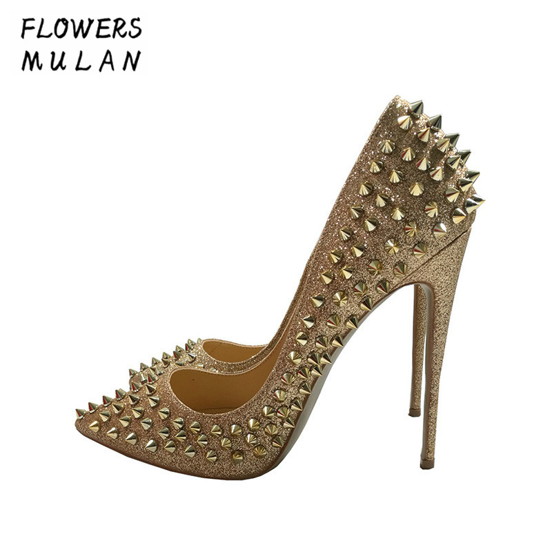 Genuine Leather Glitter Spikes Women Summer Shoes Studded Rivets Silver Gold Heels Shoes Women Large Size 34-45 Stiletto Shoes