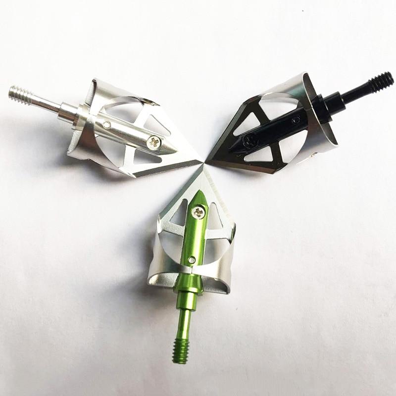 3 piezas de caza Arrow Head Broadheads 100Gr Caza Puntas de flecha Tiro con arco Caza Broadheads 360 Ángulo de corte 5/6 '' Corte Diamete