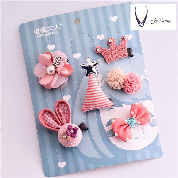 6 pcs Cute Little Girls Hairpins Cartoon Character Hair Clips Bow Knot Crown Elastic Hai ...