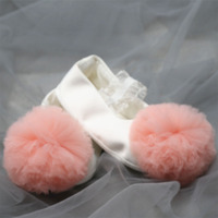 Dollbling Baby Toddler Shoes White Shoes Pink Pompoms Elastic Band Closed Cotton Soft Bottom Solid Color Baby Girl Toddler Shoes