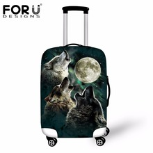 FORUDESIGNS Cool Animal Wolf Tiger Elastic Travel Accessories Spandex Luggage Protective Cover for 18-30inch Suitcase Case