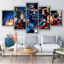 Modular Poster The Avengers Movie HD Prints Home Decor 5 Pieces Framework Canvas Paintings Wall Art Pictures drop shipping