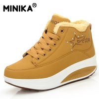 Minika Women Snow Boots Wedges Ankle Boots Fashion Slimming Swing Shoes Plush Solid Round Toe Platform